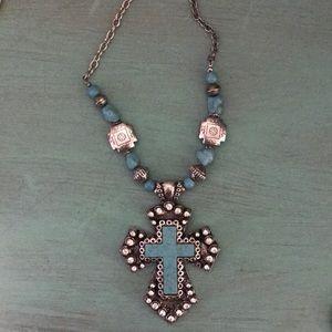 Big flashy turquoise cross necklace